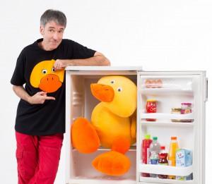 """Klaus Foitzik und seine Ente """"Pudding"""""""