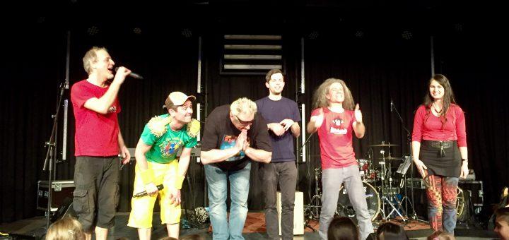 vl.: Andi Traub, Donikkl, Suppi Huhn, Paul, Fum und Festivalorganisstorin Beste Tarrach