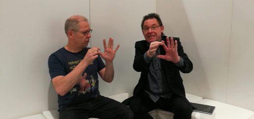 Matthias Meyer-Göllner und Wolfgang Hering im Gespräch auf der Didacta 2018